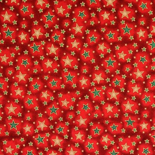 Red Christmas Stars With Metallic Fabric