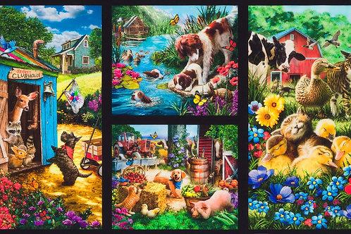 Country Farm Fabric Panel