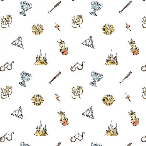 Harry Potter Watercolour Elements Fabric - White