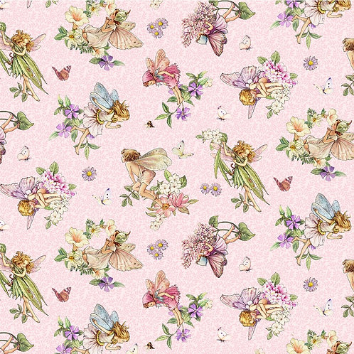 Songs of the Flower Fairies Dancing Fairies Fabric - Pink