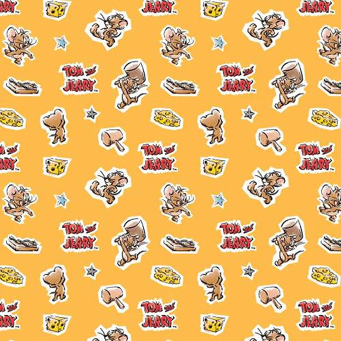 Orange Jerry - Tom and Jerry Foes Forever Fabric