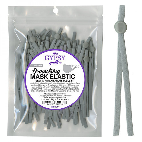 Drawstring Mask Elastic Grey 8in 60ct