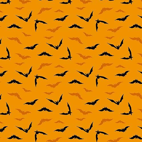 Midnight Haunt Night Flight Bats Fabric - Orange