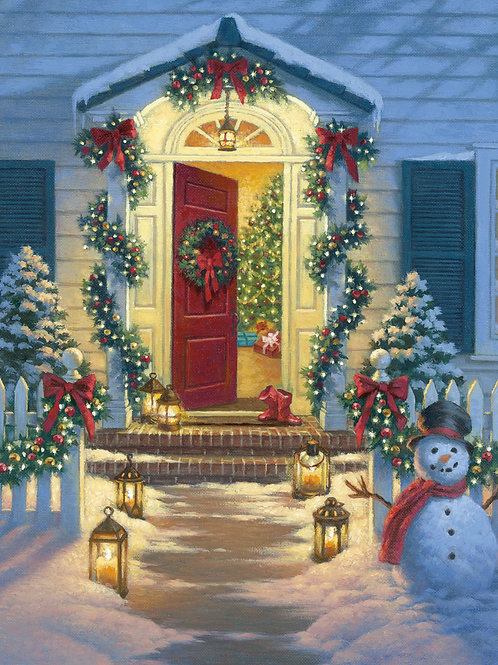 A Christmas Classic Porch Fabric Panel