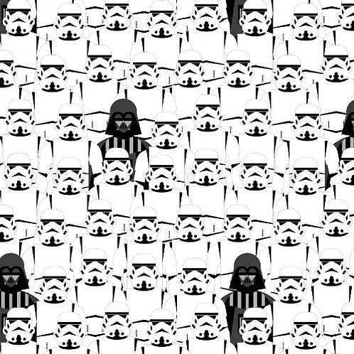 Star Wars Darth Vader and Storm Troopers Black and White Fabric