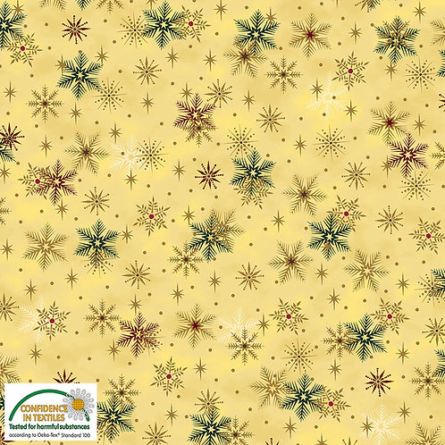 Stof Magic Christmas Fabric - Multi Snowflakes Beige Metallic