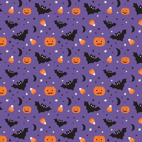 Purple Creepy and Cute Halloween Fabric