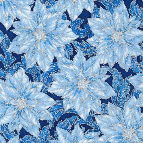 Holiday Flourish 14 Blue Christmas Flowers with metallic Fabric