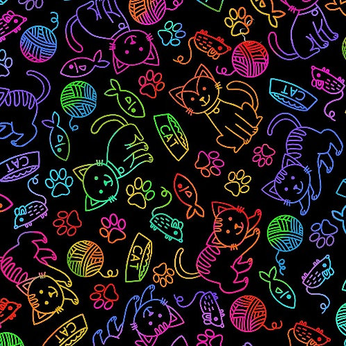 Rainbow Doodle Bright Cat Fabric