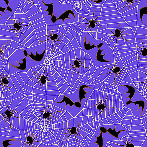 Witchful Thinking Purple Spiders, Spiderwebs with Bats Halloween Fabric