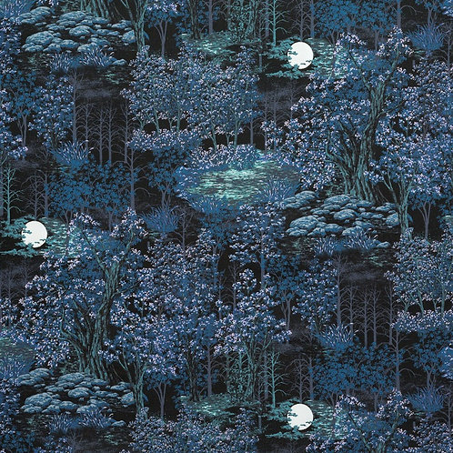 In the Moonlight Scenic Evening Fabric With Metallic