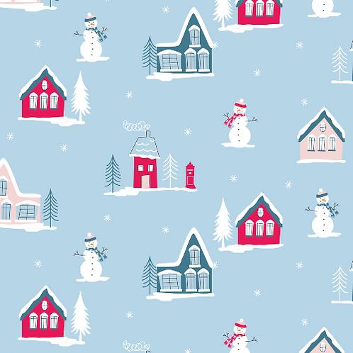 Christmas Village Christmas Post Fabric