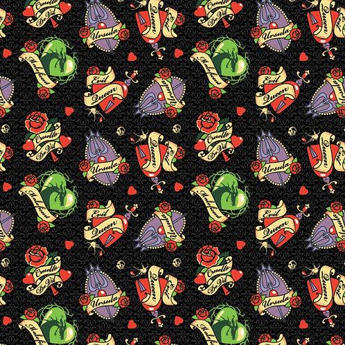 FLANNEL - Disney Villains Tattoo Badges Flannel Fabric - Black