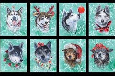 Santa's Siberian Husky Panel