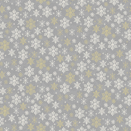 Grey Snowflake Scandi Fabric Makower 2358-S