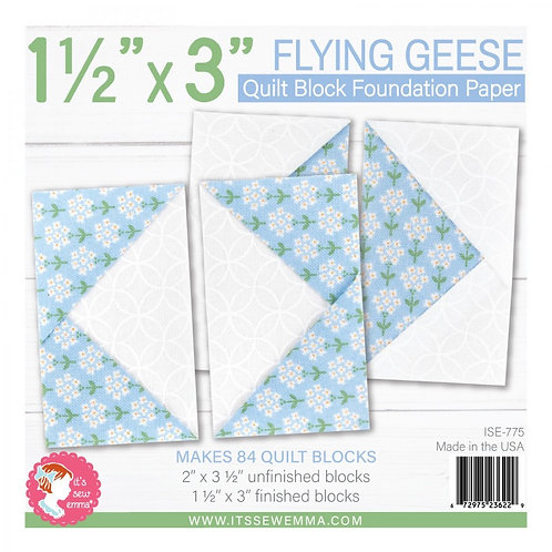 Flying Geese Quilt Block 1.5in x 3in Foundation Paper Pad