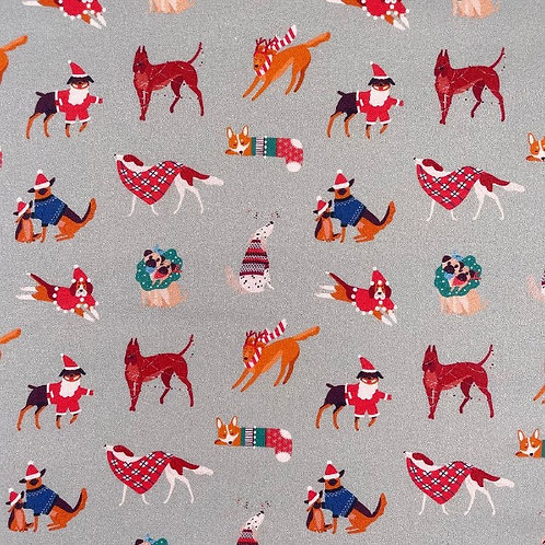 Christmas Dogs Silver Fabric
