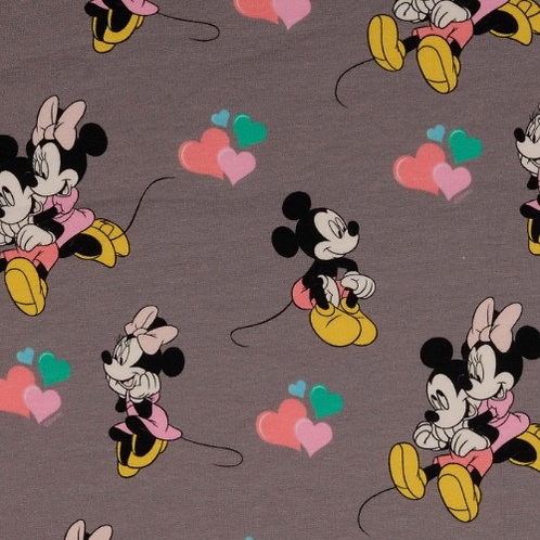 Disney Mickey and Minnie Mouse Jersey Fabric - Grey