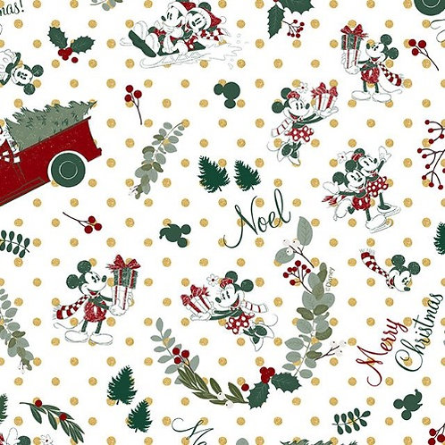 Disney Mickey and Minnie Mouse Christmas Fabric