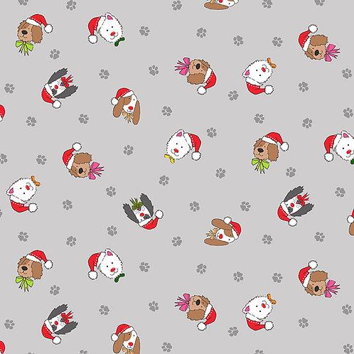 Grey Dog Heads Yappy Dog Fabric Makower 2366-S