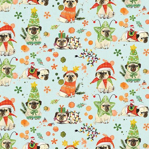 Bah Hum Pugs Christmas Fabric