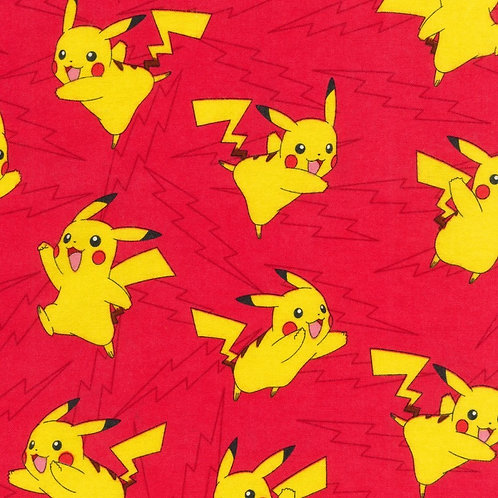 Flannel- Red Pokemon Lightening Flannel Fabric