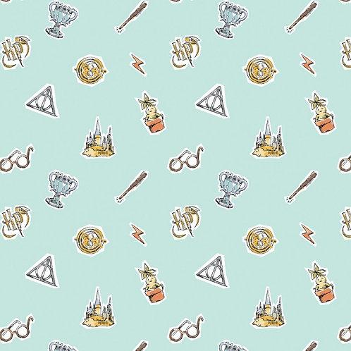 Harry Potter Watercolour Elements Fabric - Aqua
