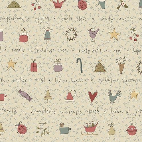 Anni Downs All For Christmas Cream Stripe Fabric