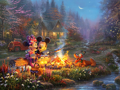 Disney Dreams Mickey and Minnie Mouse Sweetheart Campfire Panel