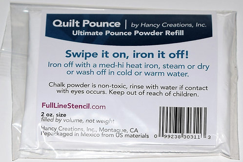 Refill for Ultimate Pounce Powder Pad for Quilt Stencils. White