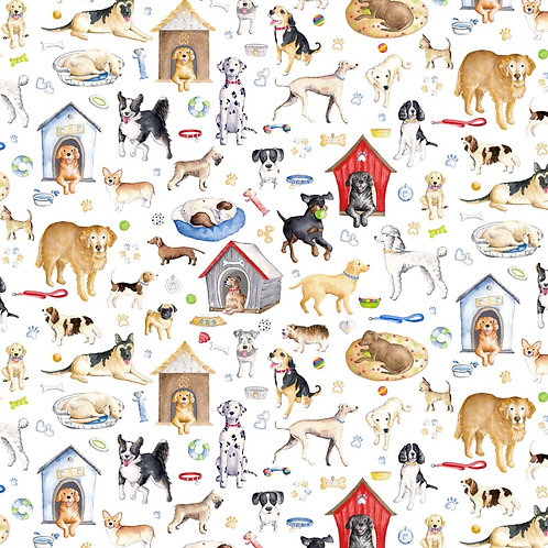 Dogs Rule Fabric - White