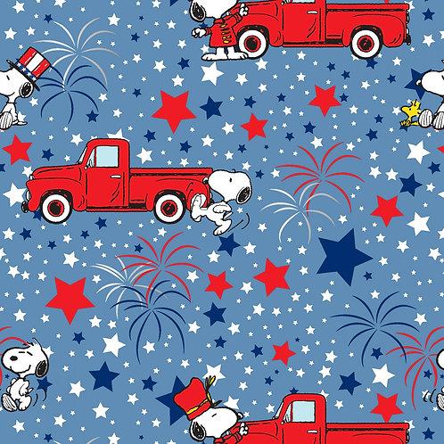 Snoopy Peanuts Patriotic Fabric with Metallic