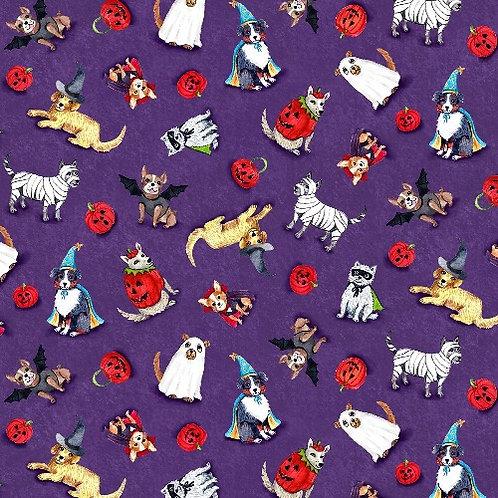 Purple Spooky Poochy Halloween Fabric