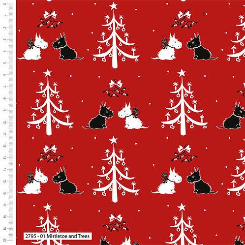 Mistletoe and Trees Christmas Fabric
