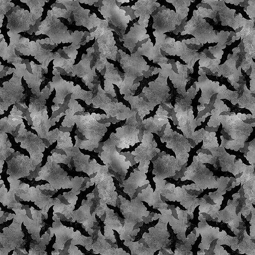 Frightful Night Black Halloween Bats Fabric
