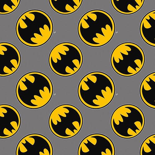 FLANNEL - Batman Logo Fabric - Grey