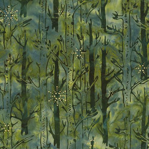 Pine - Forest Northwoods Batik With Metallic