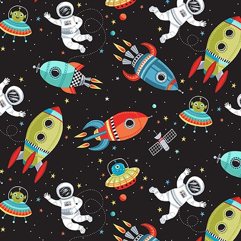Black Outer Space Fabric