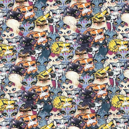 Cat Crowd Fabric