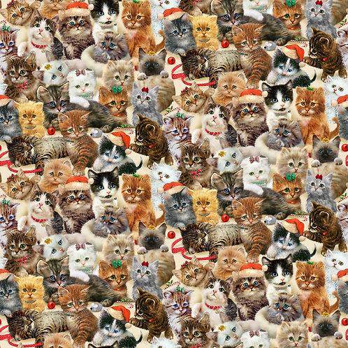 Fireside Packed Kittens Christmas Fabric