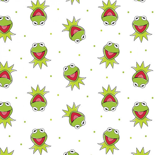 Disney The Muppets Kermit The Frog Fabric - White