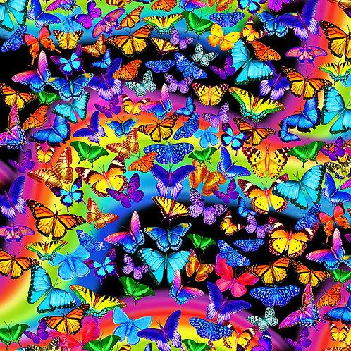 Multi Rainbow Butterfly Fabric