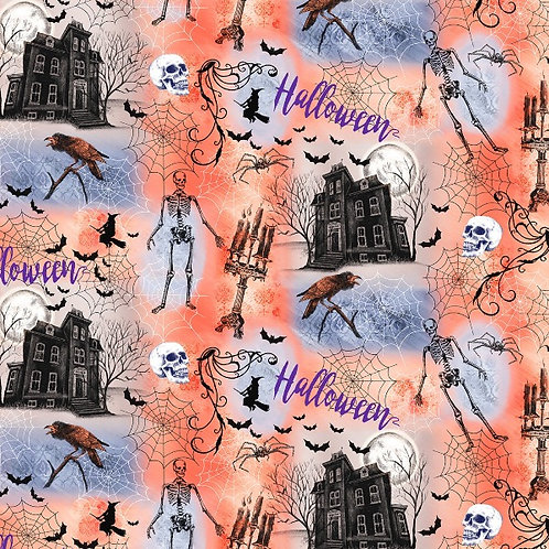 Orange Haunted House Halloween Fabric