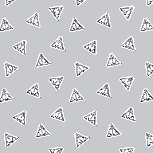 Harry Potter Deathly Hallows Fabric - Grey