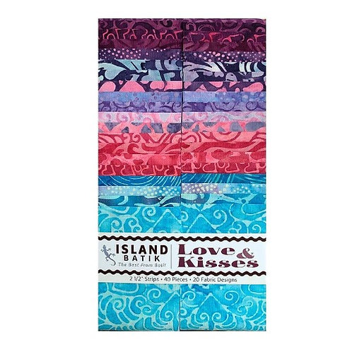 Island Batiks Love and kisses 2.5in Strips