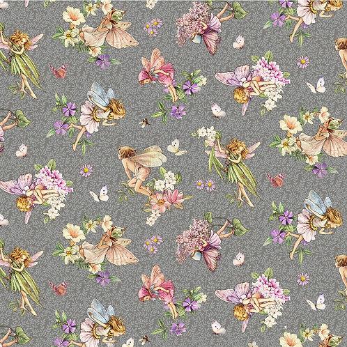 Songs of the Flower Fairies Dancing Fairies Fabric - Grey