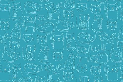 Makower Kitty Outline Turquoise
