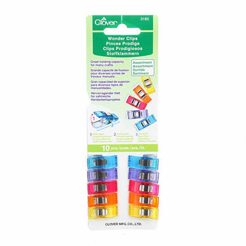 Clover Wonder Clips 10pcs Multi Coloured