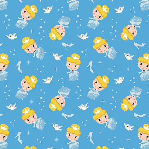 Disney Cute Cinderella Toss Kawaii Floral Fabric