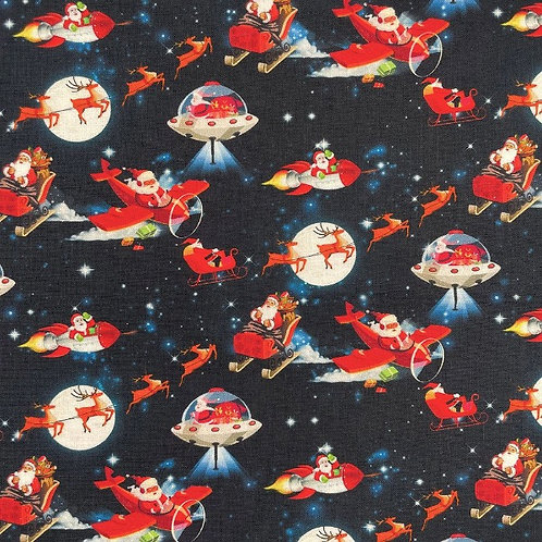 Flying Father Christmas Fabric